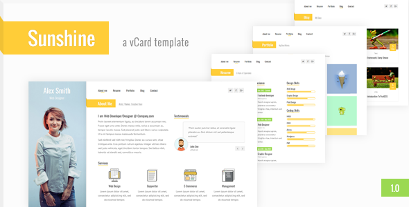 Sunshine – Responsive vCard / CV / Resume / Personal Template
