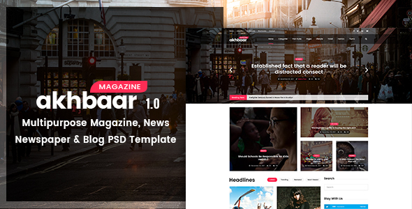 Akhbaar – Multipurpose Magazine, Newspaper, Blog PSD Template
