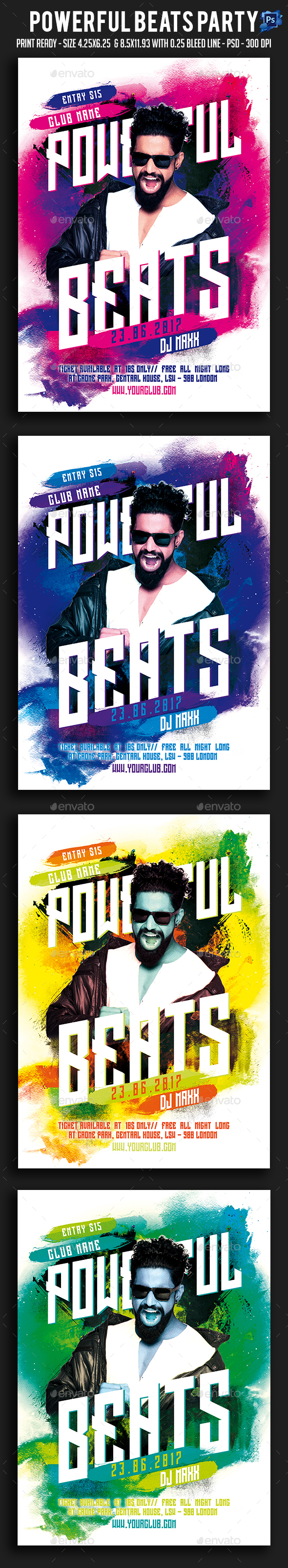 Powerful Beats Party Flyer - Clubs & Parties Events