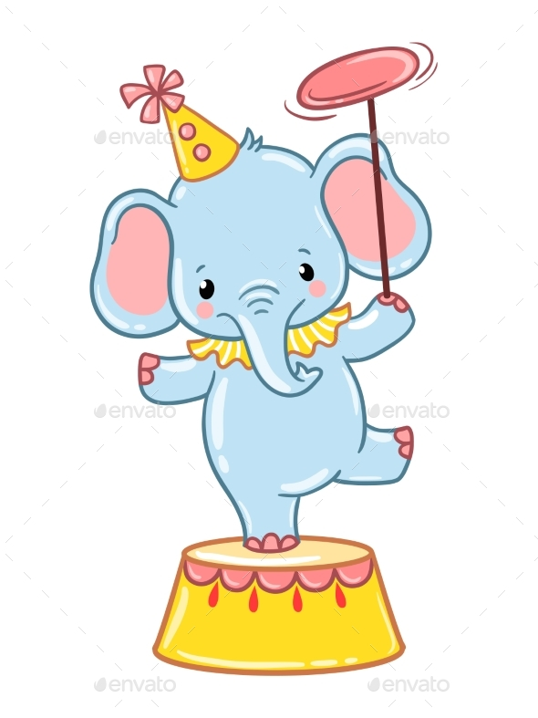 Circus Elephant Illustration - Animals Characters