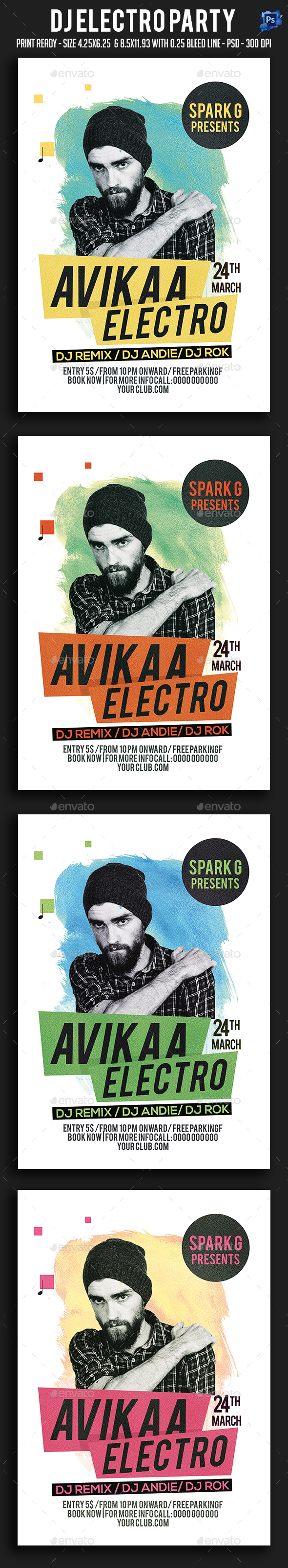 Dj Electro Party Flyer - Clubs & Parties Events