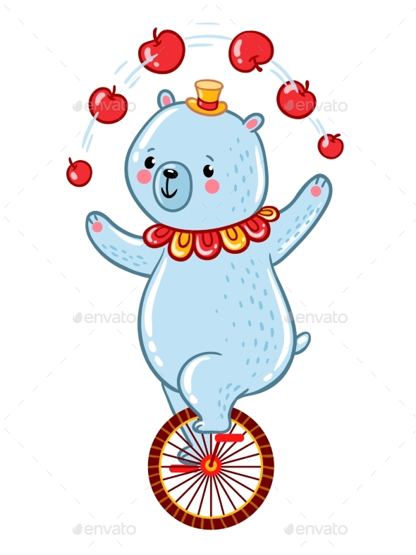 Bear Juggles Apples Illustration - Animals Characters