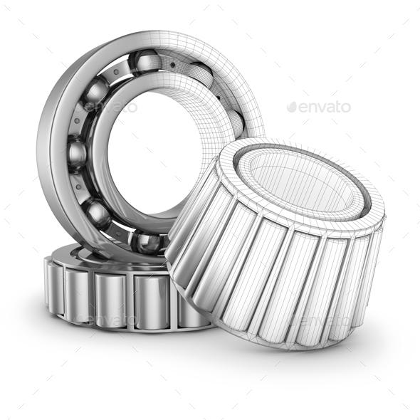 Ball Bearings in a Cut - Objects 3D Renders
