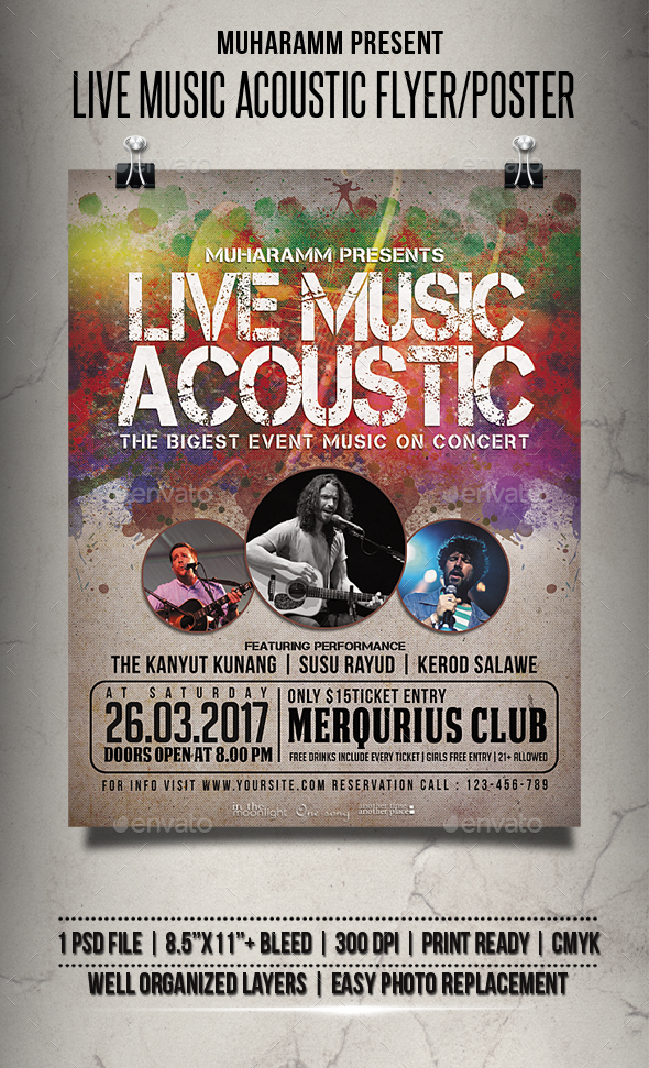 Live Music Acoustic Flyer / Poster - Events Flyers
