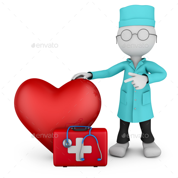 Doctor and Red Heart - 3D Renders Graphics