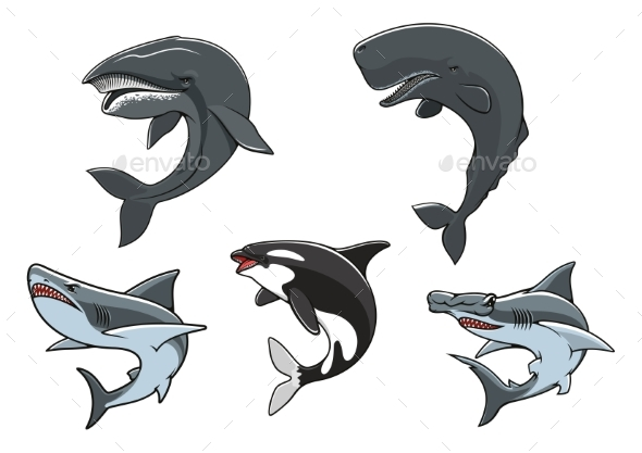 Dangerous Marine Predators Icon Set - Animals Characters