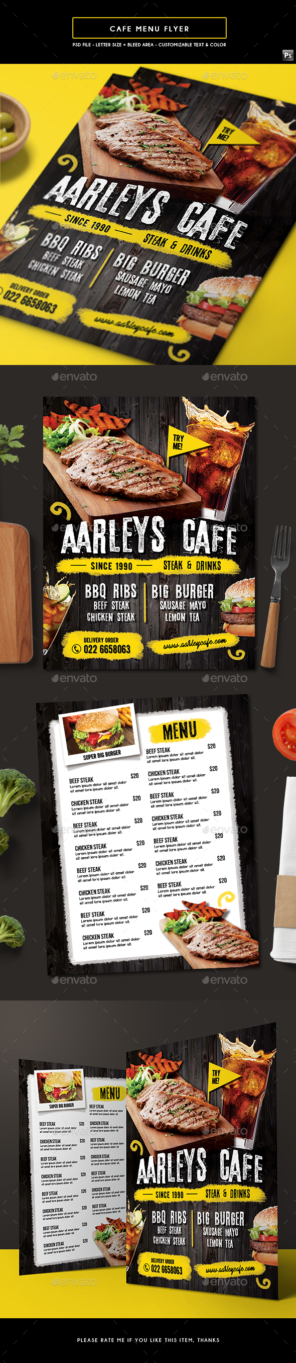 Cafe Menu Flyer - Food Menus Print Templates