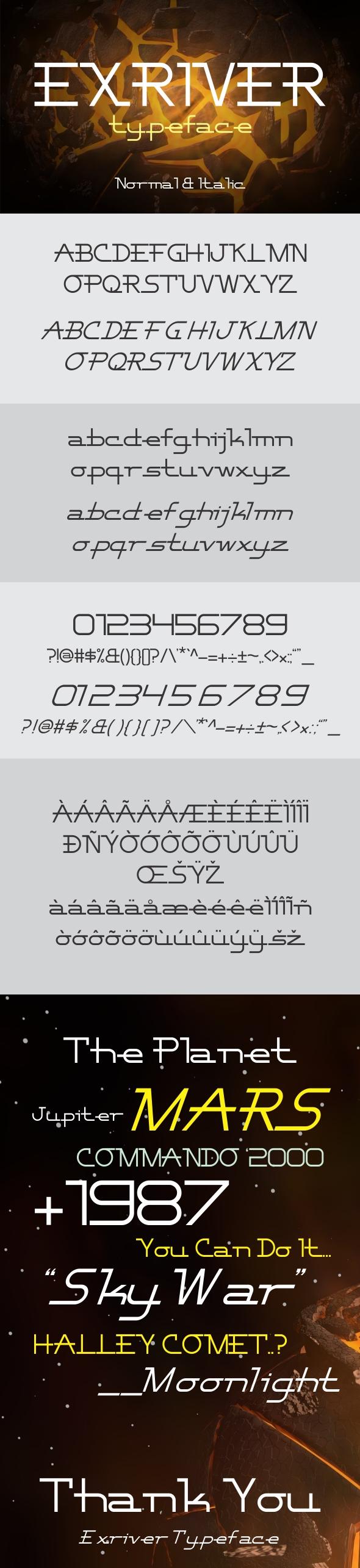 Exriver Typeface - Futuristic Decorative