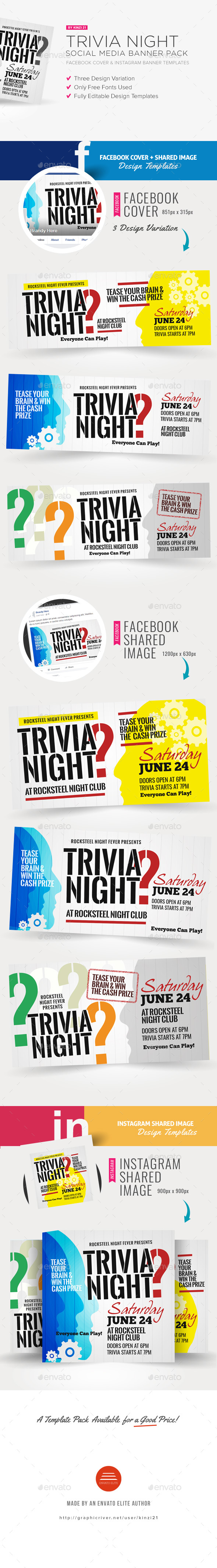 Trivia Night Social Media Pack - Social Media Web Elements