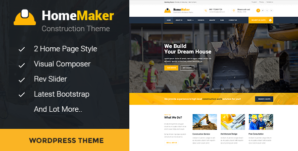 HomeMaker - Construction & Builder WordPress Theme