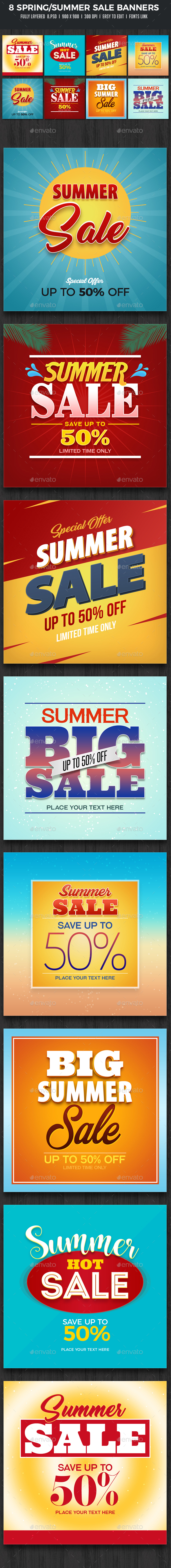 8 Spring Summer Sale Banners - Banners & Ads Web Elements