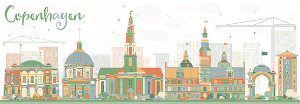 Abstract Copenhagen Skyline with Color Landmarks - Buildings Objects