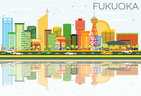 Abstract Fukuoka Skyline with Color Buildings, Blue Sky and Reflections. - Buildings Objects