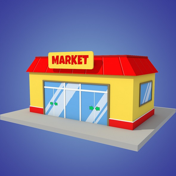 market cartoon low poly - 3DOcean Item for Sale