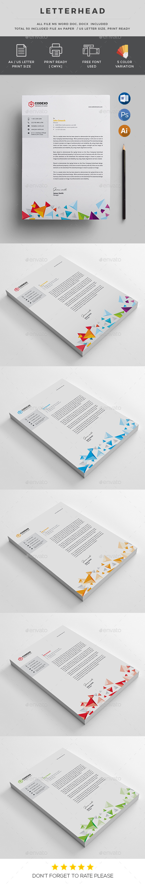 Color Letterhead - Stationery Print Templates