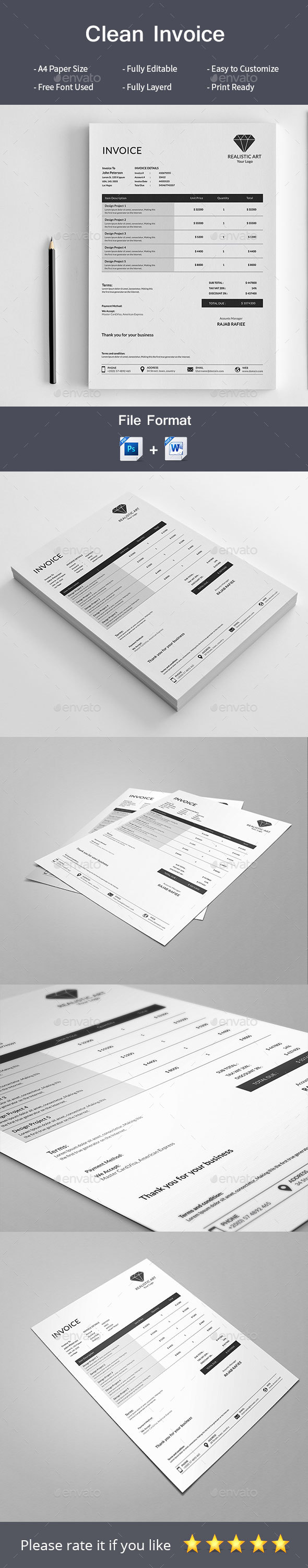 Clean Invoice - Proposals & Invoices Stationery