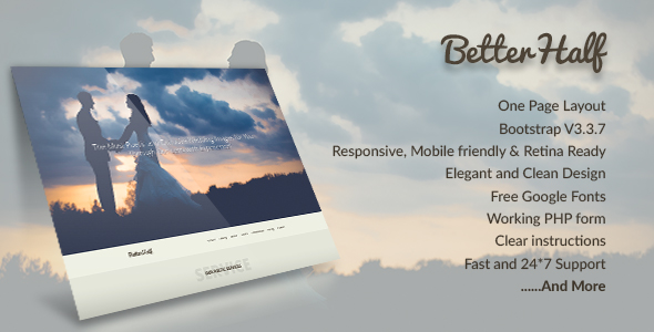 Betterhalf – A Wedding Agency Onepage Bootstrap Template
