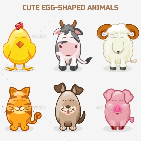 Cute Pets Animals in One Set, Simple Egg-shaped - Animals Characters