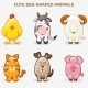 Cute Pets Animals in One Set, Simple Egg-shaped - GraphicRiver Item for Sale