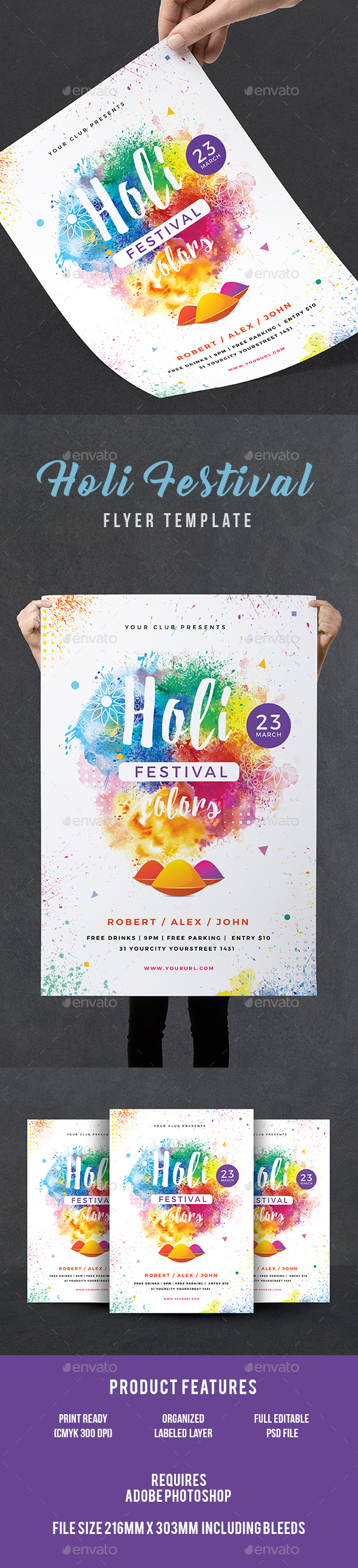Holi Party Flyer - Events Flyers