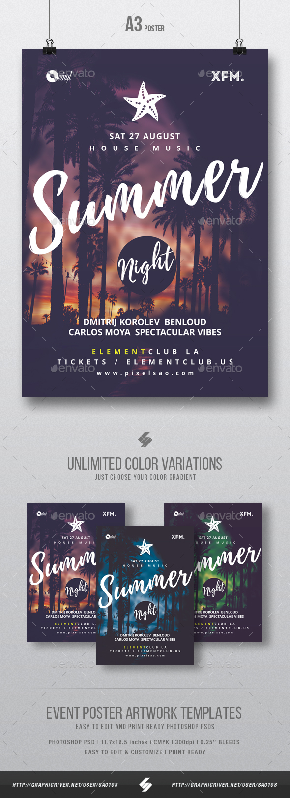 Summer Night - Beach Party Flyer / Poster Template A3 - Clubs & Parties Events