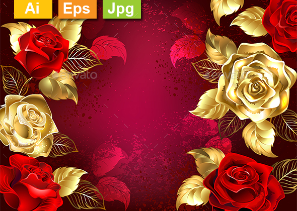 Red Background with Jewelry Roses - Borders Decorative