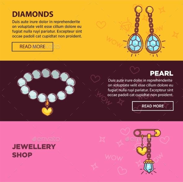 Jewelry Online Shop Web Banners Vector Flat - Web Elements Vectors