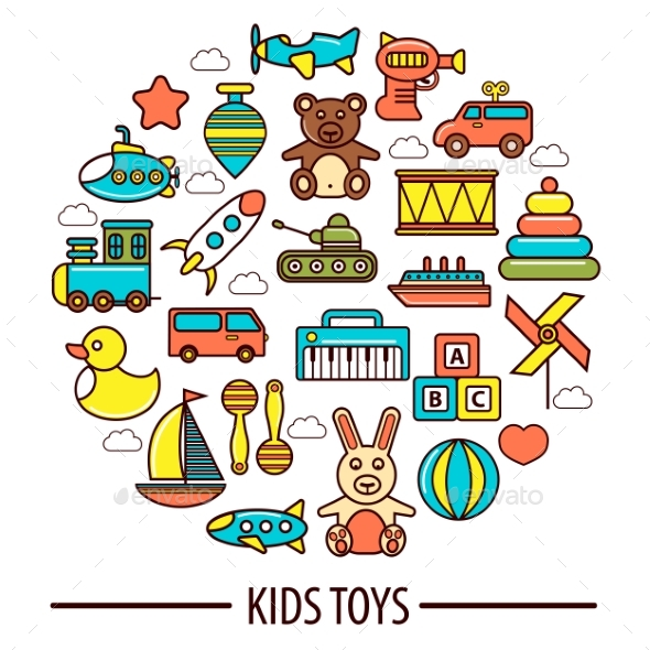 Kid Toys or Children Playthings Vector Poster - Monsters Characters