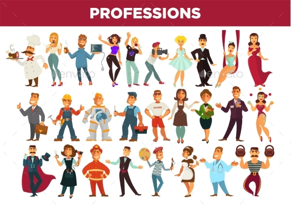 Professions and Occupation Specialists Vector - People Characters