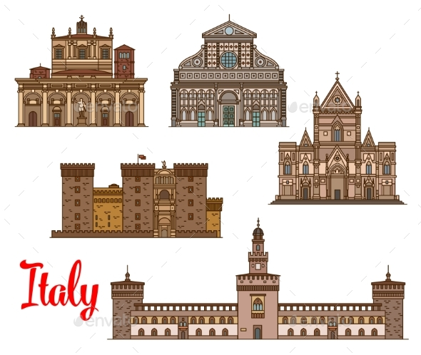 Italian Architecture Travel Landmarks Icon Set - Buildings Objects