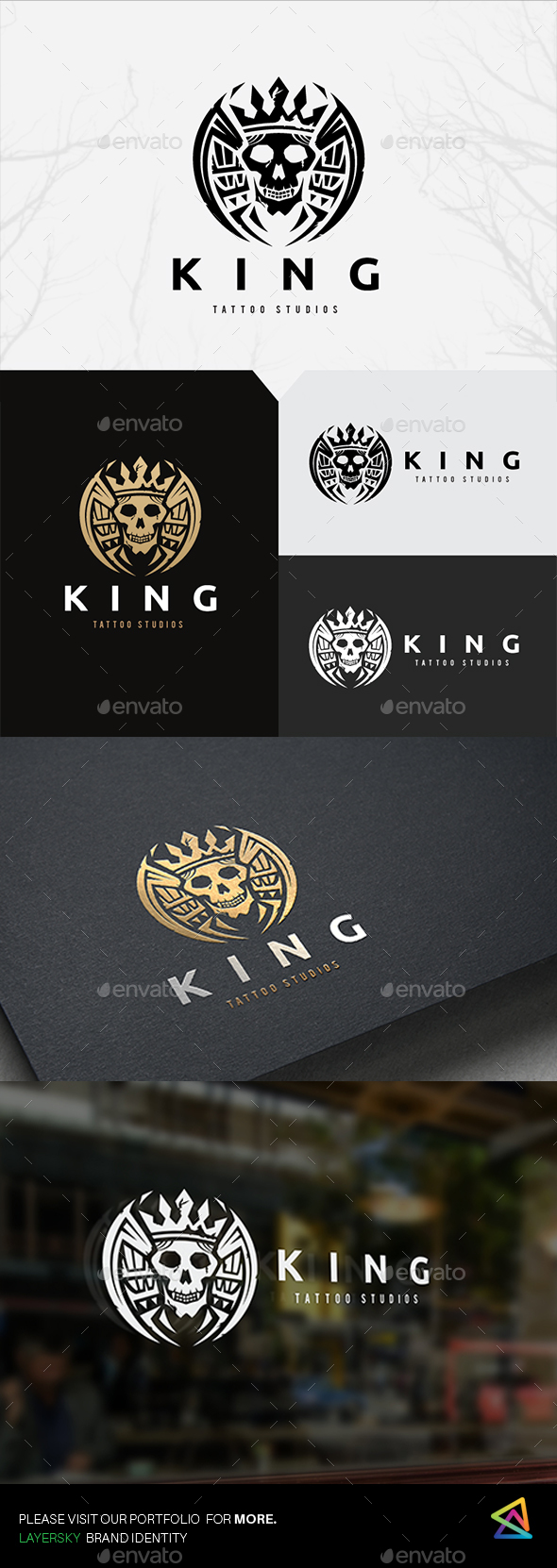 King Skull Tattoo - Crests Logo Templates