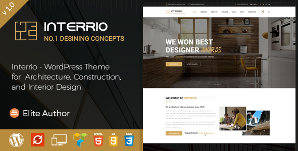 Interrio wordpress theme for architecture construction and interior design by themekalia for Interior design wordpress theme