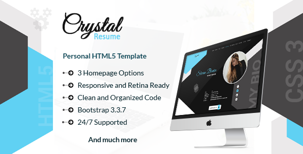 Crystal – Creative Resume, CV and Portfolio HTML Template