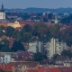 Church of St. Mark  Hyperlapse and Parliament Building with Red Roofs Zagreb, Croatia