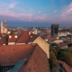 Kaptol and Catholic Cathedral Day To Night  in the Center of Zagreb, Croatia, Panoramic View