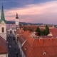 Church of St. Mark Day To Night  and Parliament Building Zagreb, Croatia.