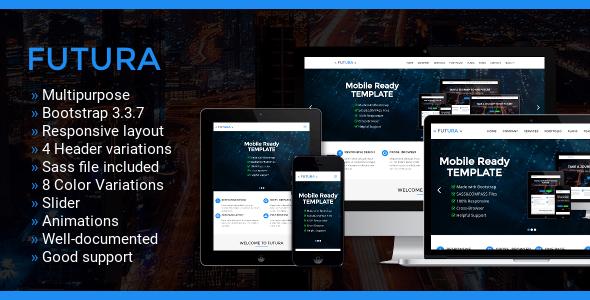 Futura - Multipurpose One Page Bootstrap Template - Corporate Site Templates