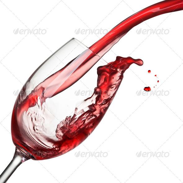 Splash of wine isolated on white - Stock Photo - Images