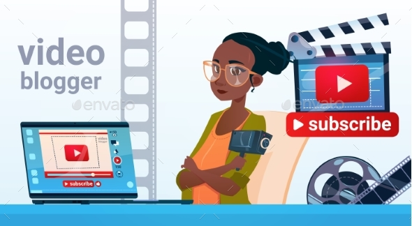 Woman Video Blogger Online Stream Blogging - Web Technology