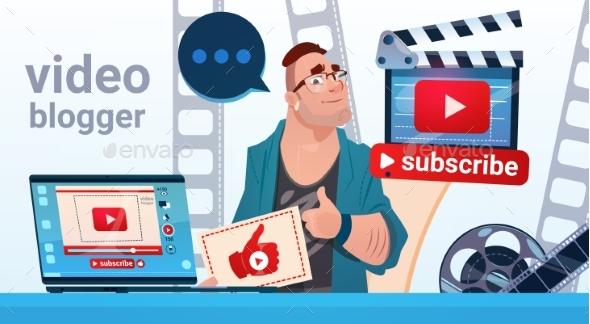 Man Video Blogger Camera Computer Screen Blogging - Web Technology