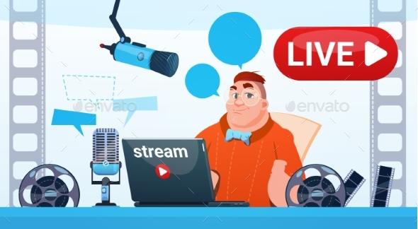 Man Video Blogger Online Stream Blogging Subscribe - Web Technology