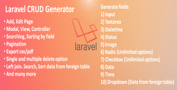 Laravel CRUD Generator - CodeCanyon Item for Sale