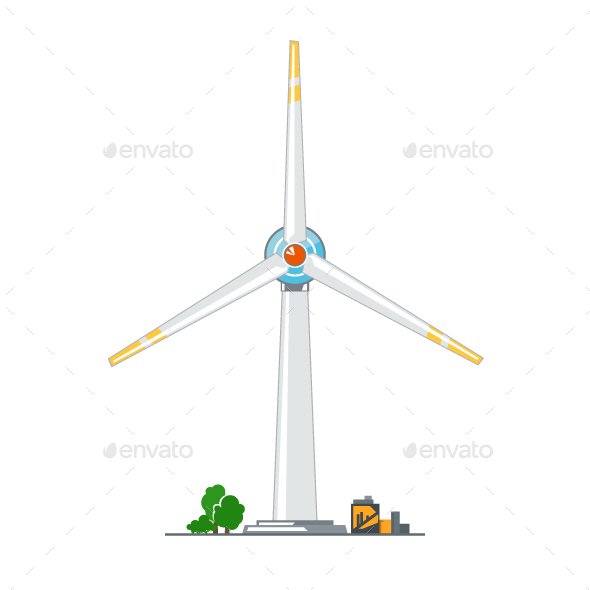 Wind Turbine on White Background - Industries Business
