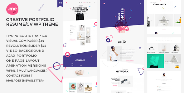 Me – Creative Portfolio & Resume / CV WordPress Theme
