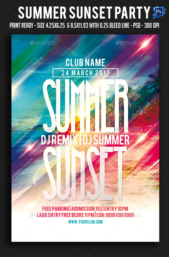Summer Sunset Party Flyer - Clubs & Parties Events