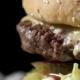 Hamburger on Black Background.