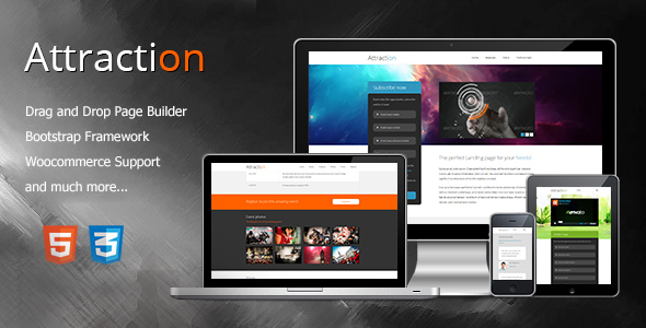 Attraction Responsive Wordpress Landing Page - Technology WordPress