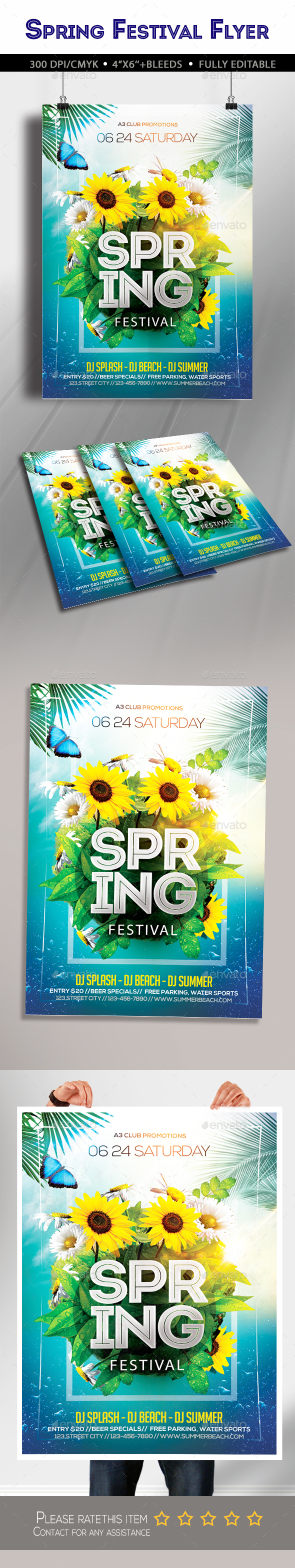Spring Festval Flyer - Clubs & Parties Events