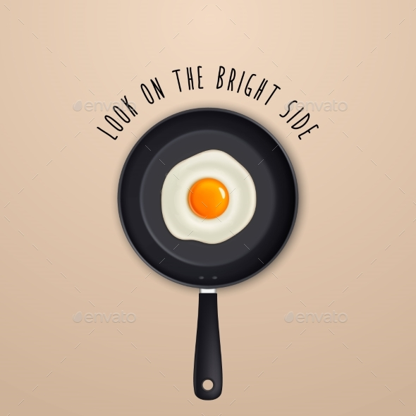 Look on the Bright Side - Background with Quote - Food Objects