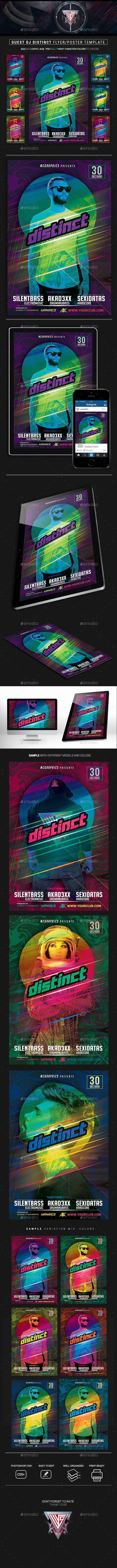 Guest DJ Distinct Flyer/Poster Template - Clubs & Parties Events